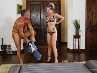 handjob and a rubdown from a blonde beauty