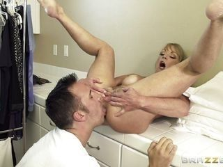 busty mommy shayla sucks her son's friend cock