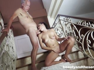 brunette babe gets fucked by the older man