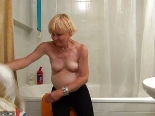 old nanny strips and washes her cunt