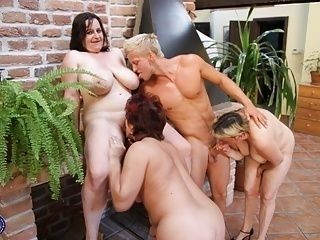 Crazy sex party with 3 grannies and strong boy