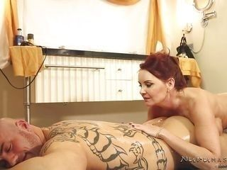 redhead masseuse gets excited