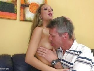 small tits blonde gets satisfied by oldie