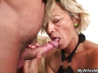 sexy blonde mature loves the taste of cock